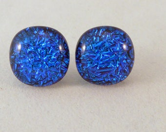 Blue Dichroic Fused Glass Stud Earrings, Dichroic, Fused Glass Earrings, Glass Earrings, Dichroic Earrings, Dichroic, Studs, Posts, Blue
