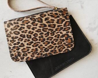 Leather Purse La Pochette - leopard print ON SALE -50%