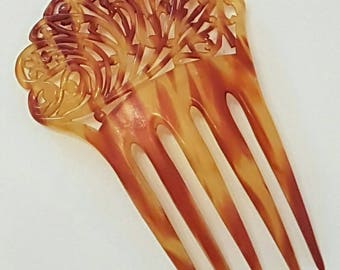 Beautiful 1940s Vintage Celluloid Hair Comb - Decorative Hair Comb - Faux Tortoise Shell Hair Comb
