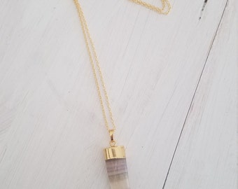 "Trendy Minimal Colorful Green Purple White Fluorite Horn Shaped Pendant Gold Tone Long 30"" Layering Chain Statement Necklace"