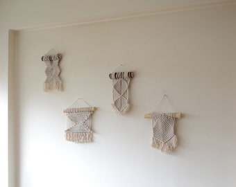 Macrame mini wall hanging. Natural cotton rope on reclaimed tree branch. 70s, minimal, boho, eco chic, modern, vintage,geometrical,boho chic