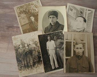 Black & White USSR Soldier Photographs, Lot of 6 Vintage Photos, Army Photographs, Military Memorabilia, Young Man Photo Snapshots