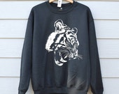 Tiger Sweatshirt  Animal Graphic Top  Black Cat Sweatshirt  Printed Jumpers  Cat Print Clothing