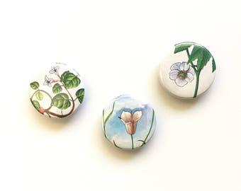 Golden Nature Guide Magnet / Flower Magnet / Partridgeberry Mariposa Mayapple / Fridge Magnet / Home Decor / Organizer / Stocking Stuffer