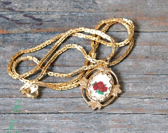 Cross Stitch Necklace, Embroidered Rose Pendant, Petit Point Necklace, Cameo Rose Necklace, Cross Stitch Rose Necklace, Red Rose Jewelry