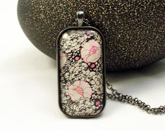 Pink White Black Floral Glass Pendant Necklace