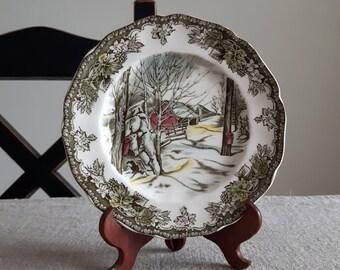 "Friendly Village bread & butter plate - ""Sugar Maples"" // Johnson Bros. ironstone transferware, winter scene, maple syrup, replacement china"
