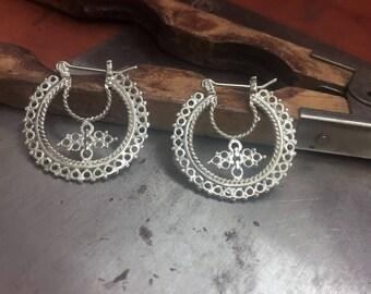 Sterling Silver Oriental Earrings, Silver hoops, Silver Yemmen Earrings, Ethnic Silver Hoops, Boho Earrings, Unique Silver Hoop Earrings