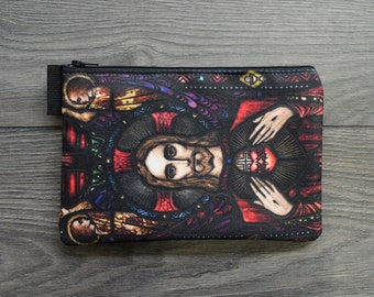 the apparition of the sacred heart - lined twill pencil case - double sided print -  harry clarke stained glass panel