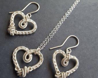 Jewelry Sets for Women, Jewelry Sets Silver, Heart Jewelry, Heart Necklace Silver, Heart Necklace Sterling Silver, Heart Earrings Silver