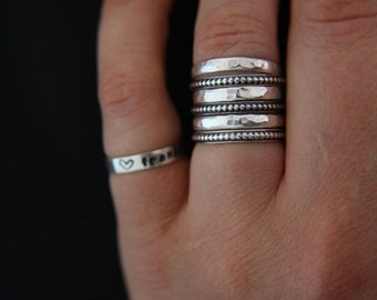 Sterling silver stacking rings.Stacks.Stackable rings.Band rings.Rustic, textured rings.Set of 6 rings.