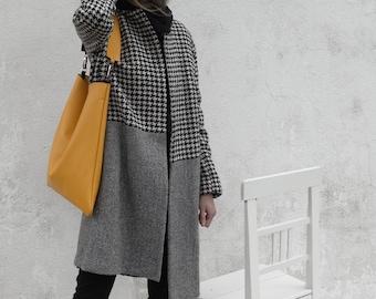 Yellow Leather Shoulder Bag/Large Leather Bag/Big Leather Hobo Bag/Slouch Bag