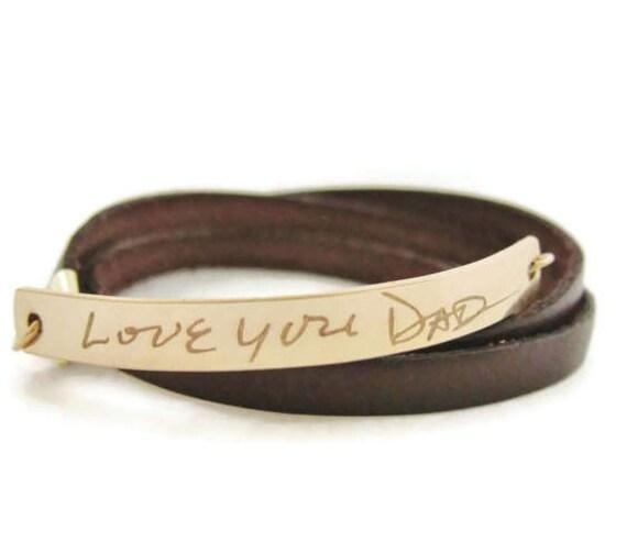 Personalized Handwriting Bracelet, Gold Bar Bracelet, Leather Wrap Bracelet, Custom Handwriting, Memorial Jewelry, Signature Bracelet
