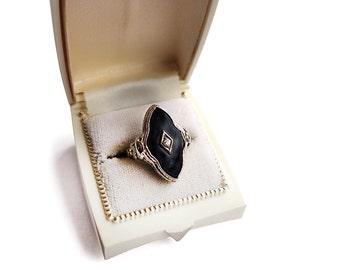 Antique Art Deco Ring 14k White Gold Filigree Diamond Onyx Size 5