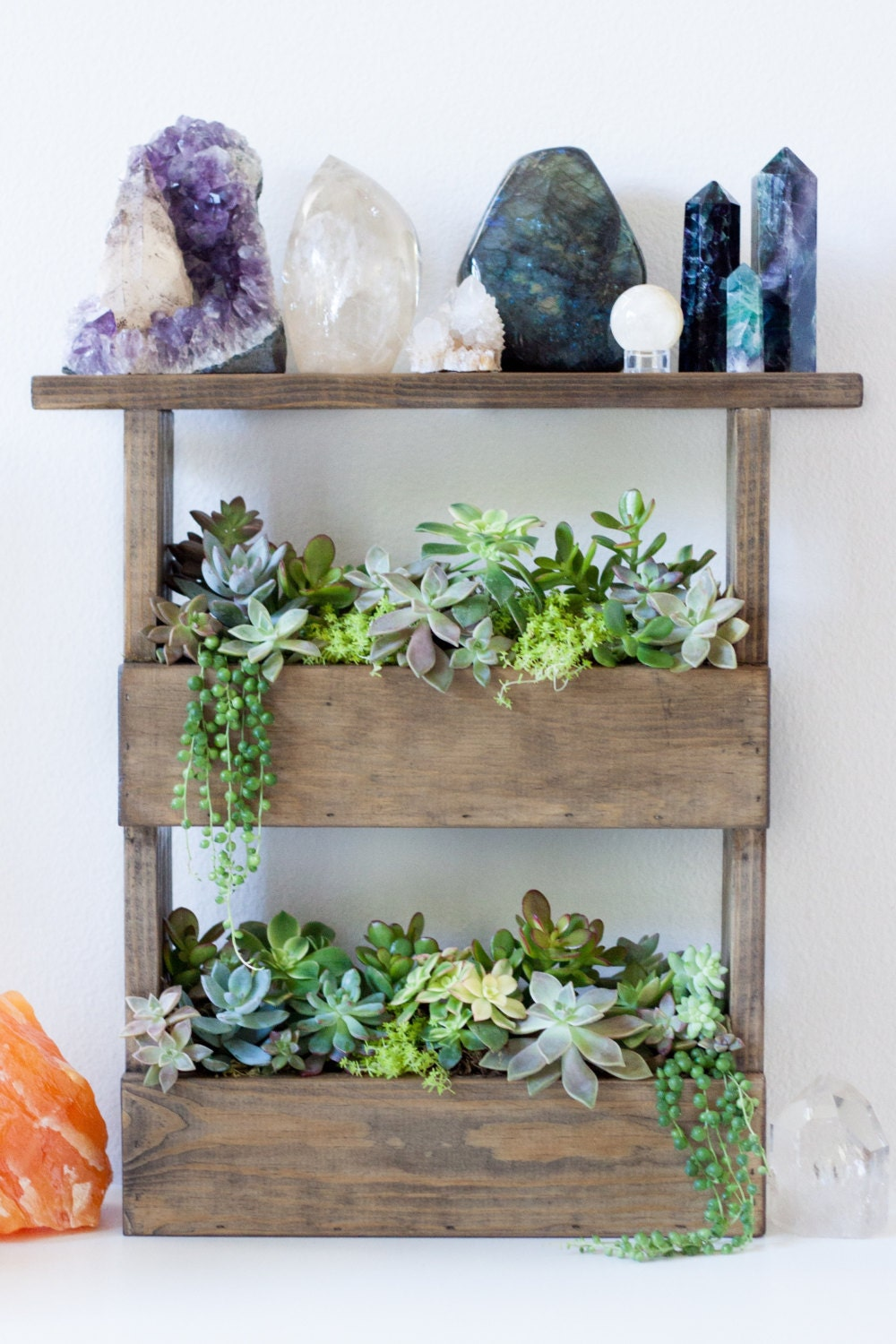 Vertical Wall Planter Box Pallet Style Crystal Display Shelf