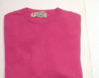 Vtg 60s Pringle of Scotland Pink Fuchsia Cashmere Crewneck Short Sleeve Sweater