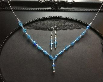 Blue Crystal Necklace Set, Blue Bridal Necklace, Blue Necklace, Swarovski Set, Bridal Jewelry, Bridal Gift Set, Blue Crystal, Something Blue