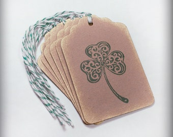 St. Patrick's Day shamrock Tag Set 6 Blank holiday gift present tag clover