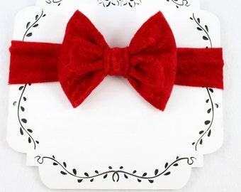 Red Baby Headband, Red Bow Toddler Headband, Red Velour Baby Headband, Large Bow Christmas Headband, Baby Girl Headband, Photo Prop