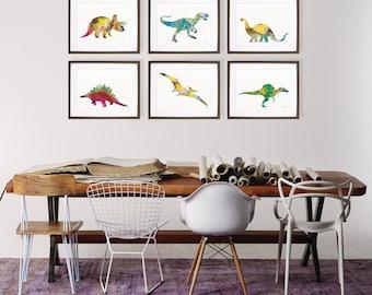 Dinosaur Watercolor Paintings, Art Print Set of 6 Colorful Dinosaur Prints, Poster, Nursery Art Wall Decor, Home Decor Gifts - Housewares