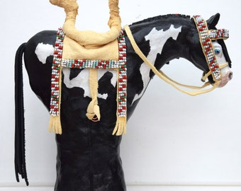 Native American Indian Plains style spirit horse paint pony model sculpture beaded tack fringed leather ancient rock art southwest pottery