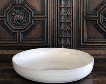 "12.75"" Rustic Shallow Stoneware Serving Bowl, Handmade Ceramic Centerpiece, Shabby Chic Ceramic Bowl, Handmade Salad Bowl, Pasta Bowl"