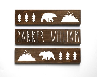 Woodland Nursery Decor, Mountain Nursery Decor, Personalized Baby Gift, Baby Bear Nursery Decor, Baby Name Sign, SET OF 3 SIGNS