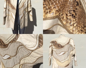 Medium Cream and Tan Snake Leather and Canvas Jacket Ladies Size Medium Large Minimalist Animal Skin by Jutta Covian