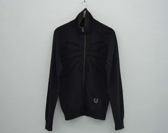Fred Perry Jacket Fred Perry Track Jacket Fred Perry Sweatshirt Fred Perry Zip Up Sweater Fred Perry Casual Black Union Jack Mens Size S/M