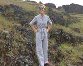 Striped Jumpsuit / Vintage Wide Leg White & Blue Engineer Stripe Small Womens Romper