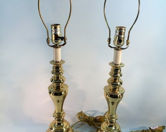 Vintage Solid Brass Lamps, Table Lamps, Set of 2