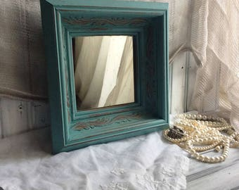 Blue Wall Mirror, Painted Turquoise Blue Wooden Distressed Mirror, Vintage Diamond Mirror, Shabby Cottage Chic Wall Decor, Farmhouse