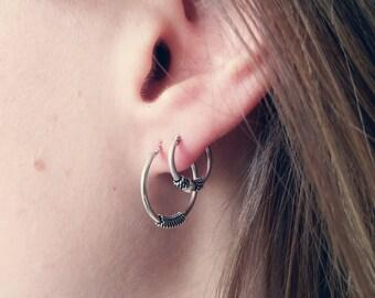 STERLING SILVER HOOPS - 20 mm Bali Earrings // 925 Sterling Silver Hoops // Dainty Earring // Boho Earrings // Gypsy Jewelry
