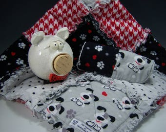 Pig 'N Blankie | Pottery Piggy Bank and Matching Baby Blanket, White Piggy Bank, Newborn Baby Gift, Baby Shower Gift, Pottered and Pieced