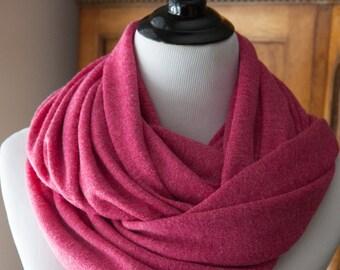 SCARF - XL Raspberry Very Soft Knit Infinity Scarf