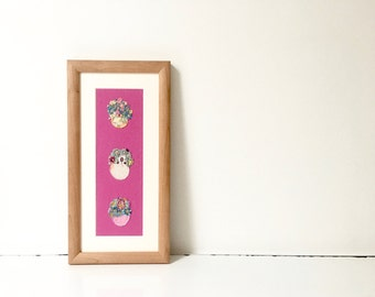 Framed hand embroidery - flowers artwork - decorative art - textile art - framed fabric art