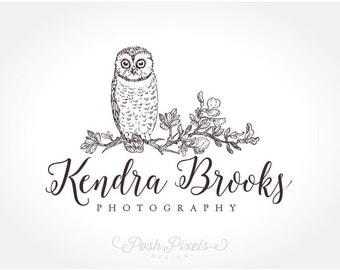 Logo Design (Premade) Owl Logo, Bird Logo, Hand Drawn Logo, Photography Logo, Boutique logo, Whimsical logo, Cute logo, Branch logo