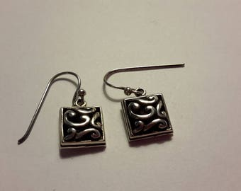 Vintage ~ BARSE Sterling Earrings ~ Barse Square Filigree Earrings ~ Barse Puff Scroll Earrings ~ Sterling 925 ~ Dangle Earrings ~ Pierced