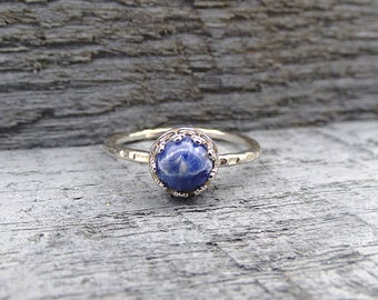 Sterling Silver Sodalite Ring, Blue Gemstone Ring, Silver Adjustable Rings for Women, Natural Blue Stone Jewelry