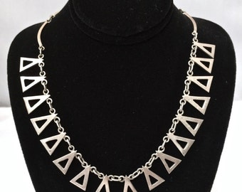 Unique Modern Handcrafted Sterling Silver Necklace Triangle Shaped Dangles