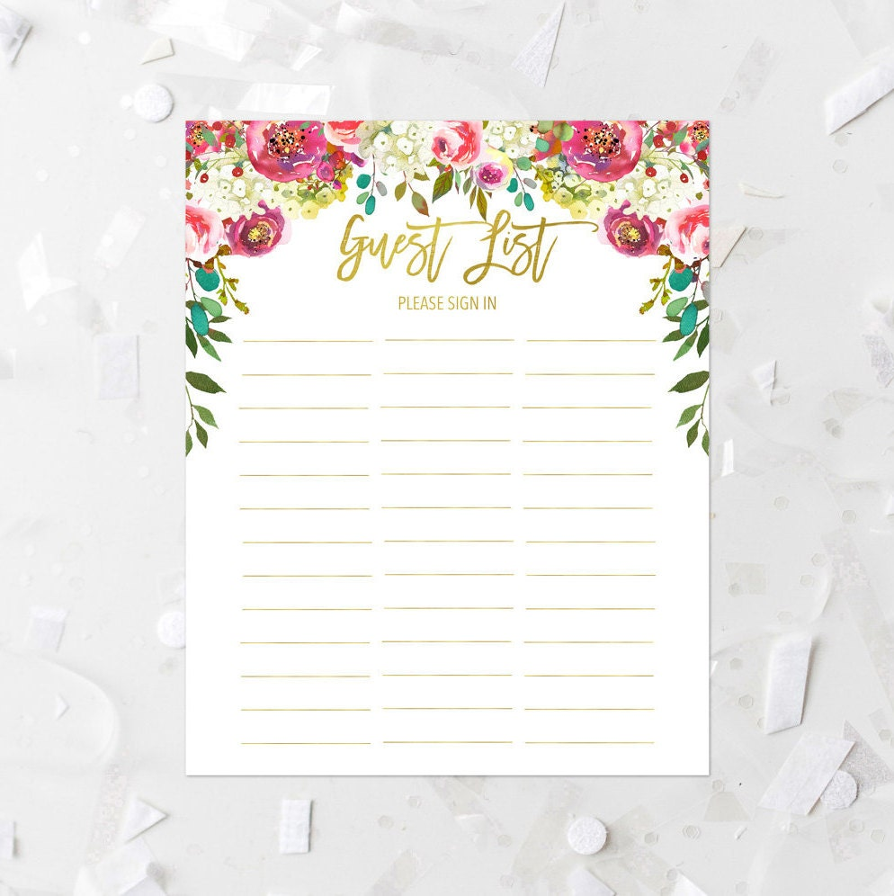 Baby Gift List Uk : Spring floral guest list printable pink baby shower