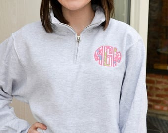 Lilly Pulitzer Applique Pullover- Monogram Sweatshirt- Monogrammed Quarter Zip Pullover- Lilly Monogram- Lilly Pullover