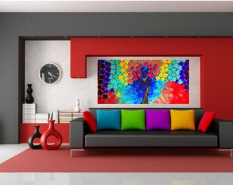 Rainbow Multi Color Impasto Acrylic Palette Knife Painting