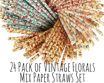 Vintage Roses and  Florals Print Paper Straws, Floral Straws, Tea Party Straws, Drink Straws, Roses Straws, Party Supply, Party Decor Drinks