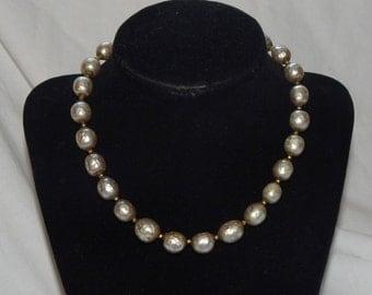 Vintage Miriam Haskell Necklace Baroque Pearl Choker Necklace Signed Miriam Haskell