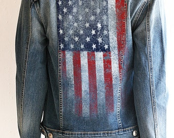American Flag Womens Denim Jacket. American Flag Clothing. Flag Jacket. Jean Jacket. Country Clothing. Denim Jean Jacket. Country Festival.