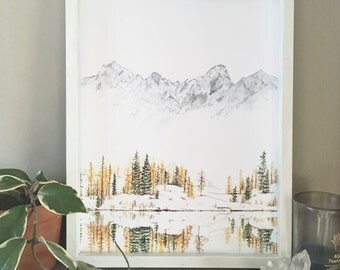 Winter Print, Mountain Print, Evergreen Print, Forest Print, Mountain Painting, Nature Print, Landscape Print, Winter Scene, Mountain Art