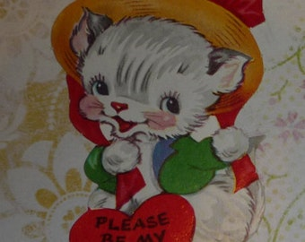Sweet White Kitty Cat - Please Be My Valentine Vintage Card