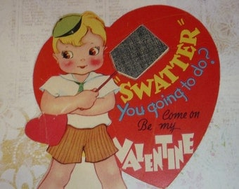 Boy With Fly Swatter - Be Mine Vintage Valentine Card