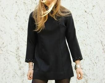 60s Black Turtleneck Mini Mod Dress Diamond Neck Glitter Details Angel sleeves Hippie Edie Sedgwick 70's